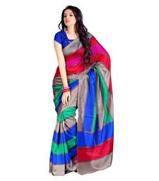 Buy Multicolor printed cotton saree with blouse printed-saree online