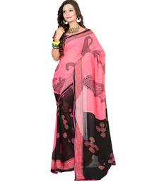 Buy Pink and Black printed georgette saree with blouse printed-saree online