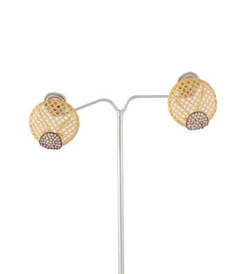 Sihiri Golden Circle Mesh Earrings