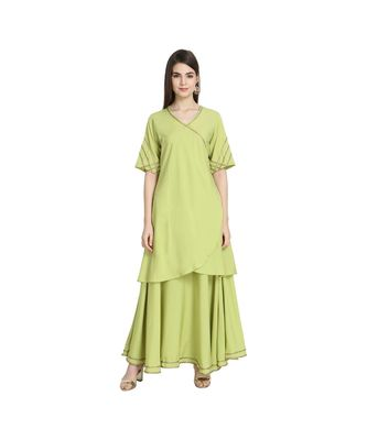 Flared Ethnic Angrakh Kurta with Skirt Set
