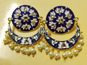 Blue Pink Chandbali Meenakari Kundan Pearl Earrings Set