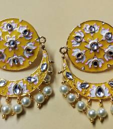Yellow Pink Chandbali Meenakari Kundan Pearl Earrings Set
