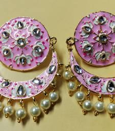 Magenta Pink Chandbali Meenakari Kundan Pearl Earrings Set