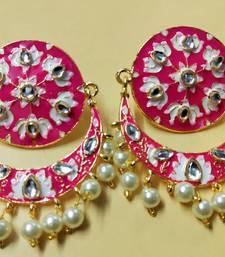 Raani Pink Chandbali Meenakari Kundan Pearl Earrings Set