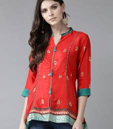 Red printed liva tunics