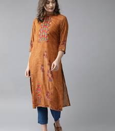 Light-brown printed rayon ethnic-kurtis