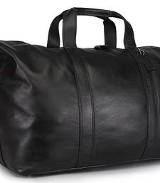 Genuine Leather Black Travel Duffle Bag