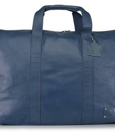 Genuine Leather Blue Travel Duffle Bag