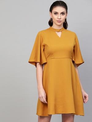 Mustard Choker Neck Skater Dress