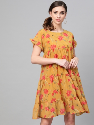 Mustard Floral Tiered Trapeze Dress