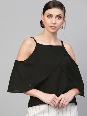 Black Cold Shoulder Layer Top