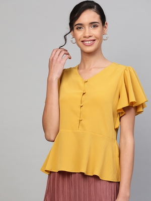 Mustard Front Button Peplum Top