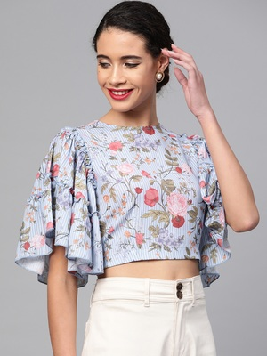 Blue Striped Floral Flare Sleeve Crop Top