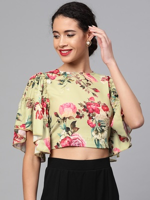 Green Floral Flare Sleeve Crop Top