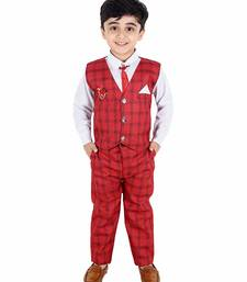 Red printed cotton silk boys-suit