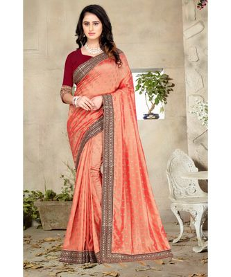 peach printed polyester saree with blouse