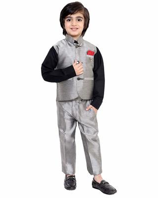 Grey printed cotton silk boys-suit