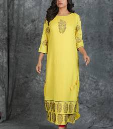 Light-yellow woven silk silk-kurtis