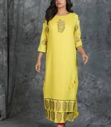 Light-yellow woven silk silk-kurtis