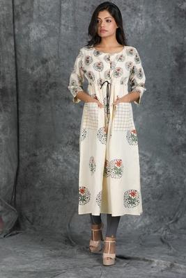 Off-white printed cotton cotton-kurtis