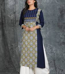 Navy-blue embroidered rayon cotton-kurtis