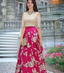 Rani-pink embroidered satin semi stitched lehenga