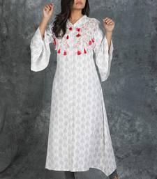 White printed cotton silk silk-kurtis
