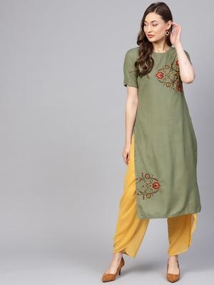Women Olive Solid Straight Handloom Kurta