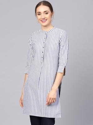 Women Grey Geometric Straight Yarn Dyed Cotton Kurta