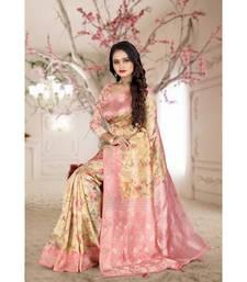 pink printed organza saree with blouse
