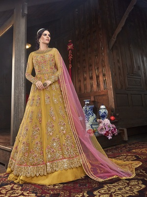 Yellow multi resham work net salwar
