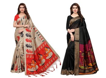 Combo Of 2 Printed Art Silk Saree With Blouse