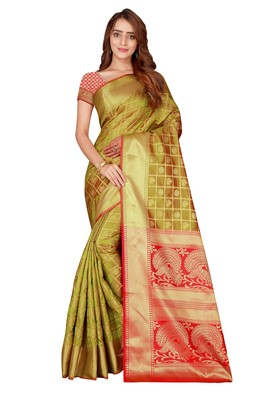 Blissta Lgreen Kanjivaram Silk Woven Work Patola Saree With Contrast Color Blouse