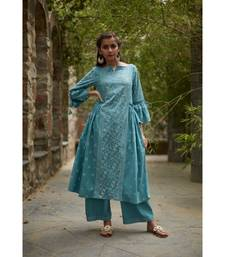 Aqua Blue Cotton Suchaya Set with Dupatta