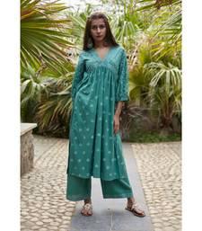 Fern Green Sara Set with Dupatta
