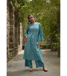 Aqua Blue Cotton Sriya Set with Dupatta