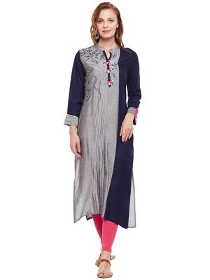 Grey woven rayon kurtas-and-kurtis