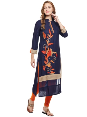 Navy-blue woven rayon kurtas-and-kurtis