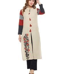 Beige woven rayon kurtas-and-kurtis