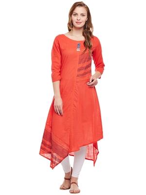 Orange woven cotton kurtas-and-kurtis