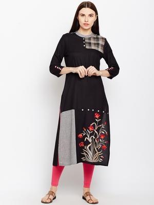 Black woven rayon kurtas-and-kurtis