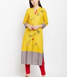 Yellow woven rayon kurtas-and-kurtis