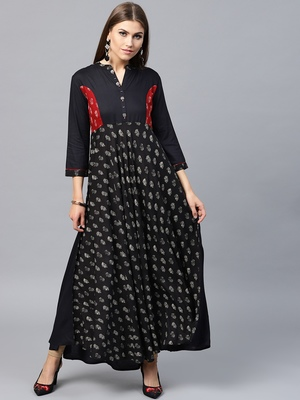 Black woven rayon kurtas-and-kurtis