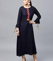 Navy-blue woven rayon kurtas-and-kurtis