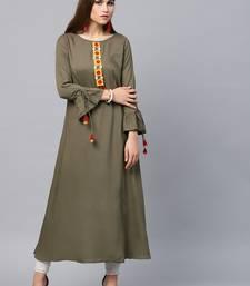 Olive woven rayon kurtas-and-kurtis