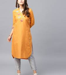 Mustard woven cotton kurtas-and-kurtis