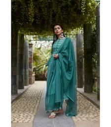 Fern Green Cotton Sriya Set with Dupatta