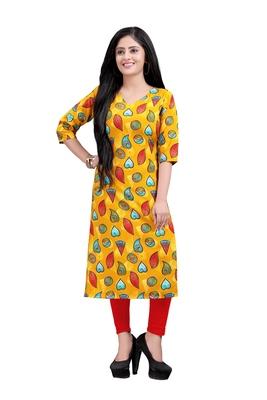 Women's Yellow colour Printed Straight Cut Crepe Kurti