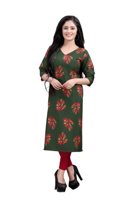 Women's Green colour Printed Straight Cut Crepe Kurti
