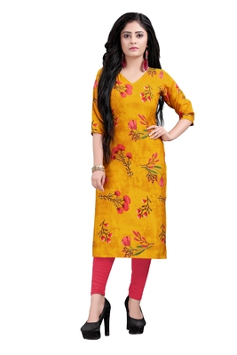 Women's Yellow colour Printed Straight Cut Crepe Kurti